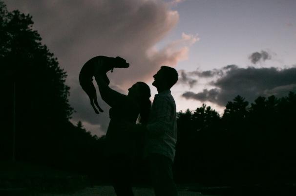 dog held up